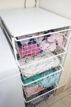 If you'd rather sort your laundry by type, put together a system like this one. | 37 Insanely Clever Organization Tips To Make Your Family's Lives Easier