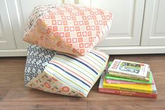 Riley Blake Designs Blog: Woodland Tree Stump Floor Cushions by Tea Rose Home #iloverileyblake #rileyblakedesigns #woodlandsprints #designbydani #tearosehome