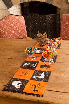 Features:  -Spooky black and white silhouettes and text, solid black and orange patchwork, Whimsical polka-dot and pom-pom accents.  -Hand wash in cold water.  -Halloween Patchwork collection.  Color: