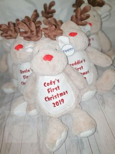 Personalised Christmas teddy.  How fun and festive are these Christmas soft toys?  A truly magical keepsake. Raindeers, penguins or teddy bears available. Personalisations will be in red glitter. Each teddy is approx 40-45cm and all Comply with EN71 European Toy Safety regulations. They all come personalised with your choice of wording. Take inspiration from the examples shown or choose your own message. Up to 35 characters including spaces works best on the tummy.