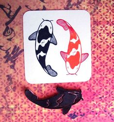 This listing is for a Koi Fish hand-carved rubber stamp. This stamp is perfect for stamping greeting cards, gift tags, bags, and much more! Clay Stamps, Stamp Printing, Printing On Fabric, Notebook Art, Stamp Carving, Custom Rubber Stamps, Handmade Stamps, Form Design, Japanese Embroidery