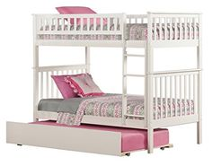 Woodland Bunk Bed with Urban Trundle, White, Twin Over Twin - $577.05