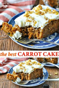 Moist, perfectly spiced, and finished with a fluffy cream cheese frosting, this is truly the best Carrot Cake recipe that you will ever taste! Best of all, the easy dessert is made from scratch with simple pantry ingredients and comes together in minutes. Easy No Bake Desserts, Easy Desserts, Delicious Desserts, Dessert Recipes, Dessert Ideas, Yummy Treats, Sweet Treats, Homemade Cake Recipes, Baking Recipes