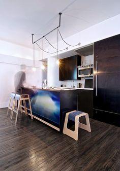 Kitchen Design, Mesmerizing Industrial Kitchen Also Modern Black Cabinets In Kitchen And Unique Kitchen Stool Design Also Unique Small Penda. Cool Lighting, Lighting Design, Pendant Lighting, Lighting Ideas, Island Lighting, Picture Lighting, Gallery Lighting, Table Lighting, Chandelier
