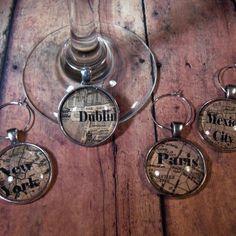 World Traveler Wine Glass Charms - Set of 4