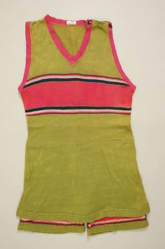 Colours are so contemporary. Bring back the 1920s bathing suit.   Beachwear (Bathing Suit)  Date: ca. 1920 Culture: American Medium: wool