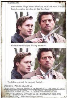 Supernatural. Castiel's face // I'm an angel, you ass!