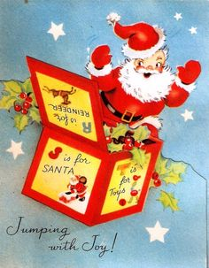 Santa Claus Jack-in-the-Box Vintage Christmas Card Vintage Christmas Images, Old Christmas, Old Fashioned Christmas, Retro Christmas, Vintage Holiday, Christmas Pictures, Christmas Stuff, Vintage Images, Christmas Ideas