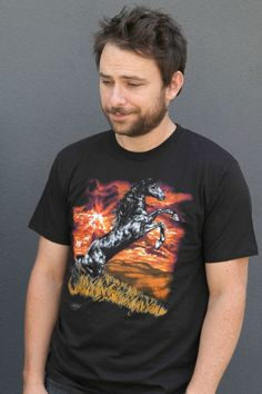 This shirt has been adorning Charlie Day since season one of It's Always Sunny in Philadelphia. This tee is the quintessential Charlie Day tee. This is an officially licensed It's Always Sunny in Philadelphia t-shirt costume. Charlie Kelly, Charlie Day, Charlie Horse, Sunny In Philadelphia, It's Always Sunny, Jack Threads, Horse T Shirts, Funny People, Funny Things