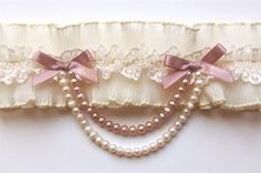 Blush Pearl Drape Pleated wedding garter perfect for your eyes only..