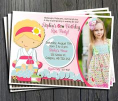 Spa Birthday Invitation - FREE Thank You Card included  $15.00  #spaparty #partyinvite