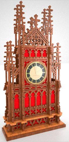 Skeleton gothic clock, scroll saw fretwork pattern
