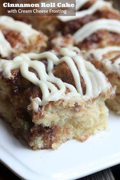 Cinnamon Roll Cake with Cream Cheese Frosting on MyRecipeMagic.com