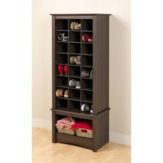 Espresso Tall Shoe Cubbie Cabinet - Overstock™ Shopping - Great Deals on Prepac Media/Bookshelves - Internal Dimensions: 5 inches high x 6.5 inches wide x 14 inches deep (each cubbie) Dimensions: 61.25 inches high x 24.75 inches wide x 15.75 inches deep - 24 cubbies plus open space on bottom - $185