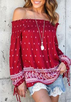 17f3b5c3a6c3d7 Off Shoulder Tops Sexy Slashneck Red Print Bohemian Style Blouse Casual  Long Sleeve Ladies Loose Tops Vetement Femme