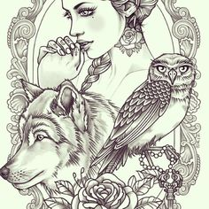 Rik Lee - Seriously considering this on my back. Definitely worth the pain. Lady to represent my inner goddess, wolf to represent family. S Tattoo, Body Art Tattoos, Sleeve Tattoos, Tattoo Sketches, Tattoo Drawings, Art Drawings, Rik Lee, Wolf Tattoos, Tatoos