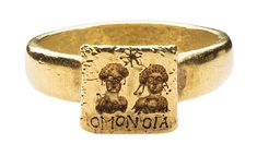 This Byzantine gold marriage ring features an engraving of the couple. From the Griffin Collection. Photograph by Richard Goodbody, courtesy of the Metropolitan Museum of Art.
