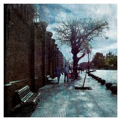 """#Digital #photo manipulation, #collage and edited photography showing a couple #walking on the #sidewalk in a #beautiful and #romantic #street view in the city of #BuenosAires, #Argentina  Saatchi Art Artist Daniel Ferreira-Leites Ciccarino; Photography, """"Romantic Street"""" #art"""