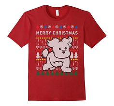 Amazon.com: Cute Puppy Merry Christmas Ugly Sweater Style T-shirt: Clothing