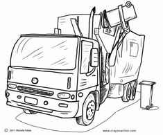 main image for the garbage truck coloring page