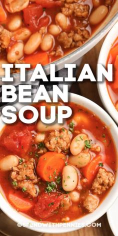 Italian White Bean Soup is a hearty, flavorful soup that comes together in no time. Serve for lunch or dinner on a cold day! Italian Bean Soup, Italian Beans, Bean Soup Recipes, Beef Recipes, Cooking Recipes, Recipe For Bean Soup, Fun Easy Recipes, Dinner Recipes, Amazing Recipes
