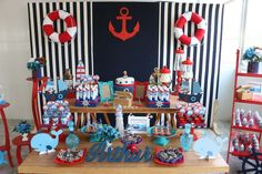 60 IDEIAS FESTA MARINHEIRO - FAÇA SUA FESTA Sailor Birthday, Sailor Party, Sailor Theme, Sailor Baby Showers, Anchor Baby Showers, Baby Boy Shower, Nautical Mickey, Nautical Party, Baby Showers Marinero