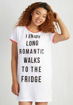 Love At First Bite Nightgown by Mink Pink - Multi, Trim, Sayings, Knit, Casual, Novelty Print, Quirky, Short Sleeves