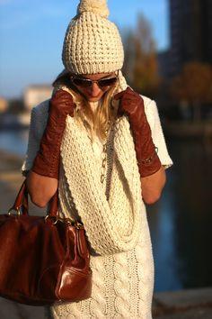 knitted dress, scarf & beanie - Orsay / gloves - Roeckl / bag - Prada / bracelet & necklace - Dyrberg Kern / sunglasses - Asos / boots - Deichmann Bag Prada, Autumn Winter Fashion, Fall Winter, Beanie, Leather Gloves, Love Fashion, Asos Boots, Winter Hats, Beanies