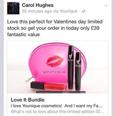Follow link order today to receive in time for valentines limited offer https://www.youniqueproducts.com/CarolHughes/party/1266856/view