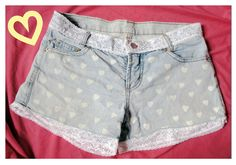 Heart and lace DIY jean shorts