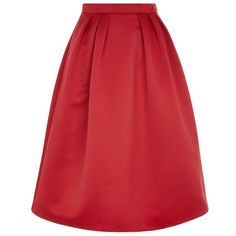 Pinko Lilly Pleated Midi Skirt (£165) ❤ liked on Polyvore featuring skirts, red skirt, red knee length skirt, satin skirt, red satin skirt and cocktail skirts