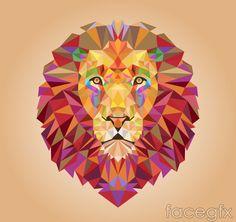 Lion's head creative geometric-shaped vector