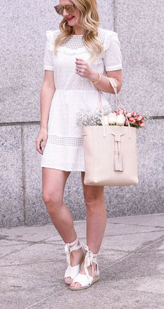 Little White Dress with the GiGi New York Hannah Tote | Spring Outfit Ideas | Style Inspiration | Wedding Guest Look | Visions of Vogue | What to Wear For Spring | Warm Weather Fashion