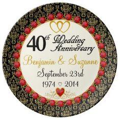 "Personalized Red Rubies Porcelain 40th Anniversary Porcelain Plate (<em data-recalc-dims=""1"">$54.95</em>)"