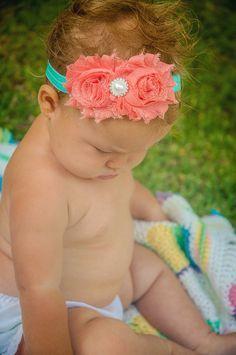 Coral and Turquoise Baby Headband, Baby headband, Toddler Headband, Infant Headbands Baby Girl Fashion, Kids Fashion, Toddler Headbands, Headband Baby, Little Ones, Little Girls, Baby Bows, Cool Baby Stuff, My Baby Girl