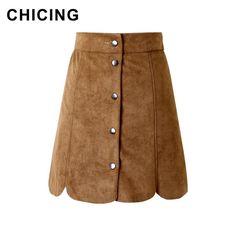 CHICING 2015 Hippie Bohemian A-Line Suede Skirt Wrap High Waist Buttons Bodycon Wave Hem Casual Ladies Saia Faldas Jupe A1507055