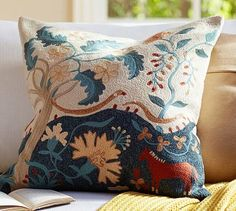 Museum Craft Collection - American Folk Art Museum Folk Tree Crewel Embroidered Pillow Cover #potterybarn