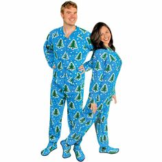 Christmas Trees and Snow Adult Footed Pajamas with Drop Seat 6a71ab6e9
