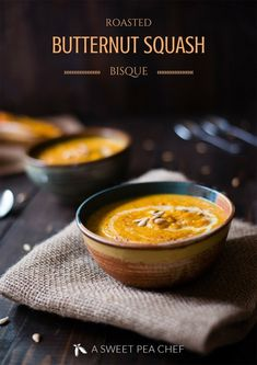 This roasted butternut squash bisque recipe is super easy to make and tastes lusciously delicious. Perfect for a cozy Fall or Winter dinner! Fall Recipes, Soup Recipes, Cooking Recipes, Healthy Recipes, Blender Recipes, Recipies, Healthy Soups, Healthy Chef, Turkey Recipes