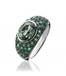 ZINZI zilveren ring groen ZIR1045G