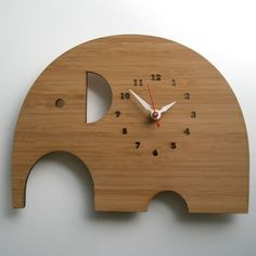Elephant Clock - Modern Animal Wall clock made out of bamboo sheet $68