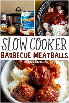 Slow Cooker Barbecue Meatballs only have 3 ingredients and make a perfect appetizer or dinner served over mashed potatoes or rice. Slow Cooker Recipes, Gourmet Recipes, Crockpot Recipes, Cooking Recipes, Delicious Recipes, Ninja Recipes, Seafood Recipes, Barbacoa, Slow Cooking
