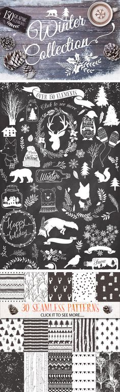 Drawing Doodle Check out -Winter collection 20 Bonus by Graphic Box on Creative Market Chalkboard Designs, Chalkboard Art, Arte Sketchbook, Chalk Art, Graphic Design Inspiration, Winter Collection, Typography Design, Design Elements, Stencil