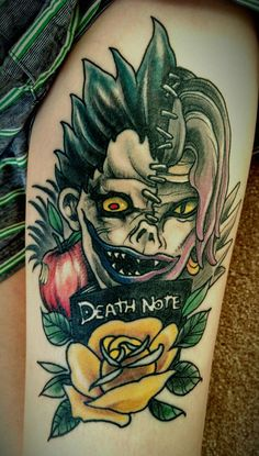 Death Note fusion piece - Done by Josh Legend @ The Constable Tattoo Parlor in Plainfield IL