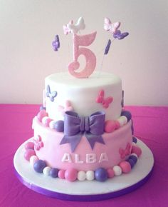 Pink and purple butterfly girls birthday cake