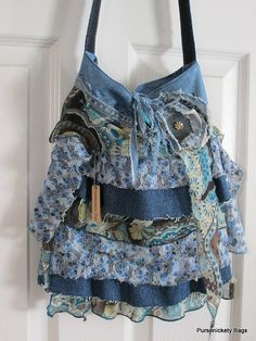 Large Romantic Handbag Jean Denim Layers by PursenicketyBags