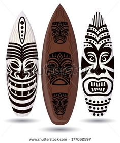 Vector surf boards ( Tiki Mask Design )  - stock vector