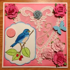 My mom loves pink and blue and she gave me this heart lace appliqué a while back. Since Mother's Day is coming up I incorporated it in her Mother's Day card.