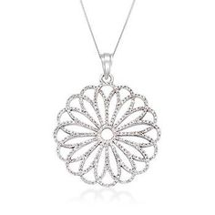 """Ross-Simons - .75 ct. t.w. Diamond Floral Pendant Necklace in 14kt White Gold. 18"""" - #865809"""