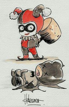 Harley Quinn y Bataman Chibi